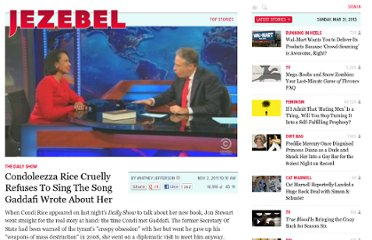 http://jezebel.com/5855551/condoleezza-rice-cruelly-refuses-to-sing-the-song-gaddafi-wrote-about-her