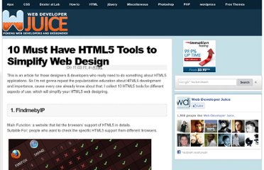 http://www.webdeveloperjuice.com/2011/11/03/10-must-have-html5-tools-to-simplify-web-design/