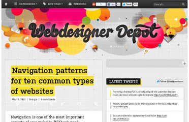 http://www.webdesignerdepot.com/2011/11/navigation-patterns-for-ten-common-types-of-websites/