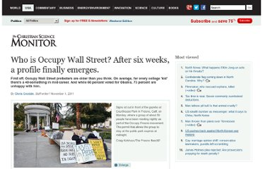 http://www.csmonitor.com/USA/Politics/2011/1101/Who-is-Occupy-Wall-Street-After-six-weeks-a-profile-finally-emerges