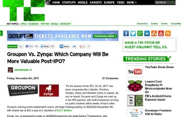 http://techcrunch.com/2011/11/04/groupon-v-zynga-value-post-ipo/