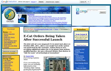 http://pesn.com/2011/11/03/9501945_E-Cat_Orders_Being_Taken_After_Successful_Launch/