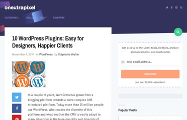http://www.onextrapixel.com/2011/11/04/10-wordpress-plugins-easy-for-designers-happier-clients/