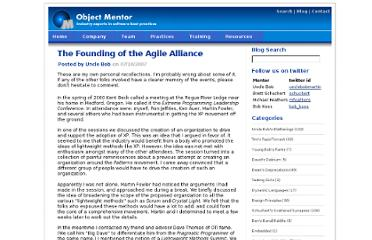 http://blog.objectmentor.com/articles/2007/07/10/the-founding-of-the-agile-alliance