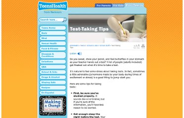 http://kidshealth.org/teen/school_jobs/school/testing_tips.html