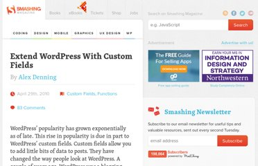 http://wp.smashingmagazine.com/2010/04/29/extend-wordpress-with-custom-fields/