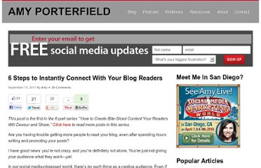 http://www.amyporterfield.com/2011/09/6-steps-to-instantly-connect-with-your-blog-readers/