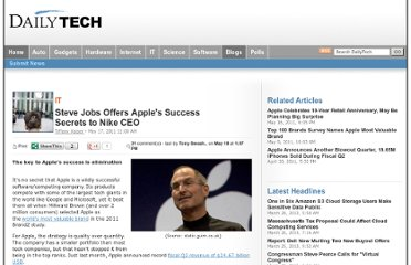 http://www.dailytech.com/Steve+Jobs+Offers+Apples+Success+Secrets+to+Nike+CEO/article21649.htm