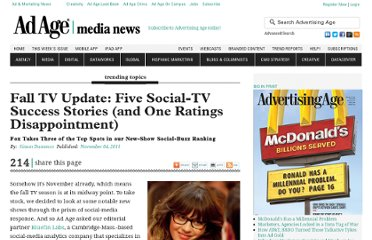 http://adage.com/article/trending-topics/fox-takes-top-spots-show-social-buzz-ranking/230843/