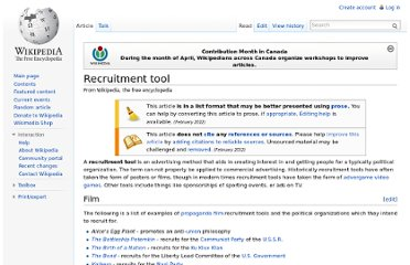 http://en.wikipedia.org/wiki/Recruitment_tool#Video_games