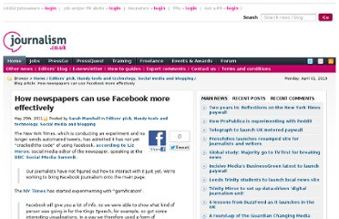 http://blogs.journalism.co.uk/2011/05/25/how-newspapers-can-use-facebook-more-effectively/
