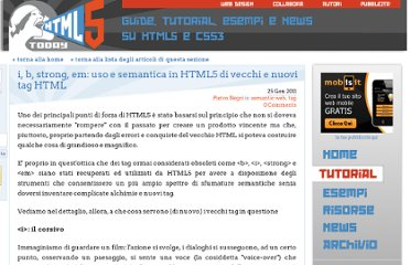 http://www.html5today.it/tutorial/i-b-strong-em-uso-semantica-html5-vecchi-nuovi-tag-html