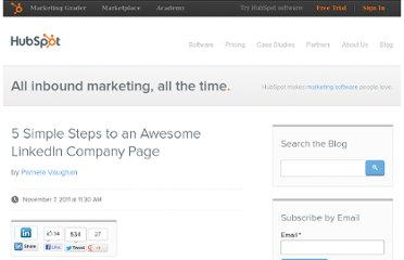 http://blog.hubspot.com/blog/tabid/6307/bid/28609/5-Simple-Steps-to-an-Awesome-LinkedIn-Company-Page.aspx