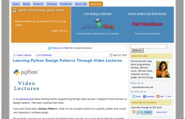 http://www.catonmat.net/blog/learning-python-design-patterns-through-video-lectures/