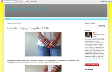 http://crochetincolor.blogspot.com/2011/10/colorful-stripey-fingerless-mitts.html
