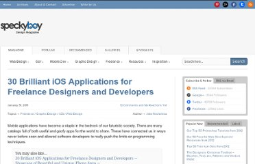 http://speckyboy.com/2011/01/31/30-brilliant-ios-applications-for-freelance-designers-and-developers/