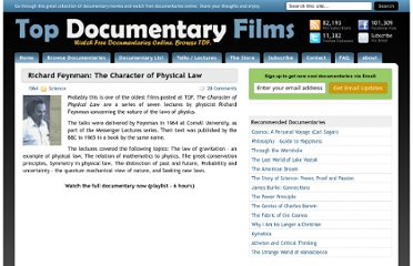http://topdocumentaryfilms.com/richard-feynman-the-character-of-physical-law/