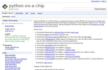http://code.google.com/p/python-on-a-chip/