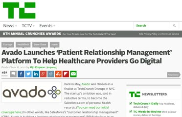 http://techcrunch.com/2011/11/08/avado-launches-patient-relationship-management-platform-to-help-healthcare-providers-go-digital/
