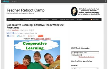 http://teacherbootcamp.edublogs.org/2010/11/19/cooperative-learning-effective-team-work-15-resources/