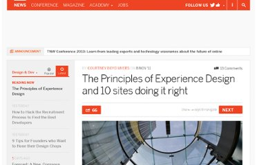 http://thenextweb.com/dd/2011/11/08/the-principles-of-experience-design-and-10-sites-doing-it-right/