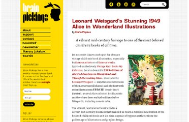 http://www.brainpickings.org/index.php/2011/11/07/leonard-weisgard-alice/