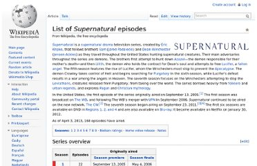 http://en.wikipedia.org/wiki/List_of_Supernatural_episodes#Season_7:_2011.E2.80.932012