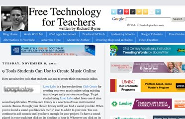 http://www.freetech4teachers.com/2011/11/9-tools-students-can-use-to-create.html