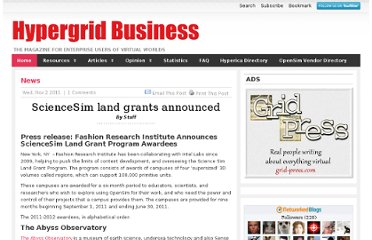 http://www.hypergridbusiness.com/2011/11/sciensesim-land-grants-announced/