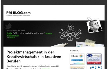 http://pm-blog.com/2007/10/06/projektmanagement-in-der-kreativwirtschaft/