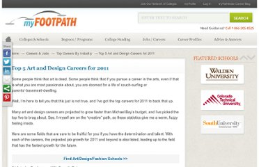 http://myfootpath.com/careers-jobs/rewarding-top-careers/top-5-art-and-design-careers-for-2011/