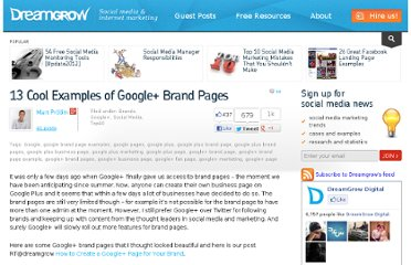 http://www.dreamgrow.com/13-cool-examples-of-google-brand-pages/