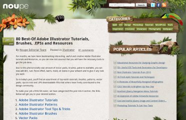 http://www.noupe.com/illustrator/80-best-of-adobe-illustrator-tutorials-brushes-epss-and-resources.html#Adobe_Illustrator_Tutorials