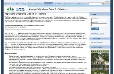 http://www.aspergersyndrome.org/Articles/Asperger-s-Syndrome-Guide-For-Teachers.aspx
