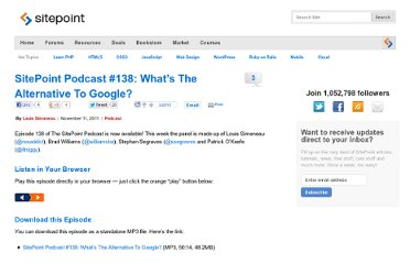http://www.sitepoint.com/podcast-138-whats-the-alternative-to-google/