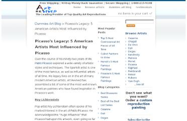 http://www.artrevived.com/blogs/art-revived-blog/1354132-picassos-legacy-5-american-artists-most-influenced-by-picasso