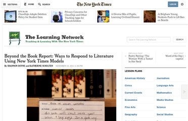 http://learning.blogs.nytimes.com/2011/11/10/beyond-the-book-report-ways-to-respond-to-literature-using-new-york-times-models/