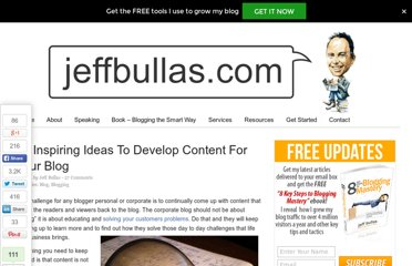 http://www.jeffbullas.com/2010/12/17/30-inspiring-ideas-to-develop-content-for-your-blog/