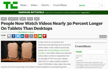 http://techcrunch.com/2011/11/12/people-now-watch-videos-nearly-30-percent-longer-on-tablets-than-desktops/