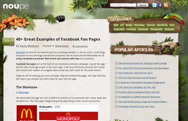 http://www.noupe.com/showcases/40-great-examples-of-facebook-fan-pages.html