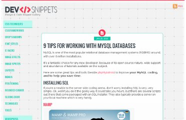 http://devsnippets.com/article/9-tips-for-working-with-mysql-databases.html