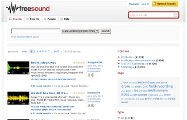 http://www.freesound.org/search/?q=&f=&s=created+desc