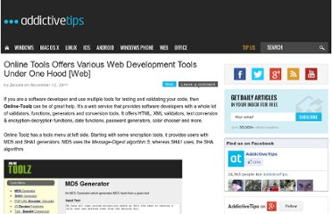 http://www.addictivetips.com/internet-tips/online-tools-offers-various-web-development-tools-under-one-hood-web/
