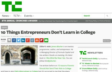 http://techcrunch.com/2011/11/12/10-things-entrepreneurs-dont-learn-in-college/