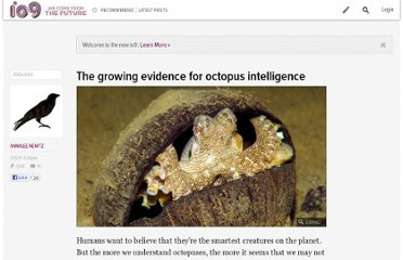 http://io9.com/5858783/the-growing-evidence-for-octopus-intelligence
