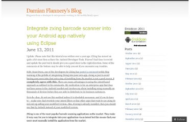 http://damianflannery.wordpress.com/2011/06/13/integrate-zxing-barcode-scanner-into-your-android-app-natively-using-eclipse/