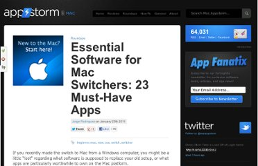 http://mac.appstorm.net/roundups/essential-software-for-mac-switchers-23-must-have-apps/