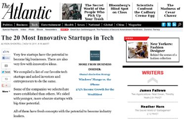 http://www.theatlantic.com/technology/archive/2011/11/the-20-most-innovative-startups-in-tech/248230/#slide3