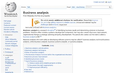 http://en.wikipedia.org/wiki/Business_analysis#Business_analysis_techniques