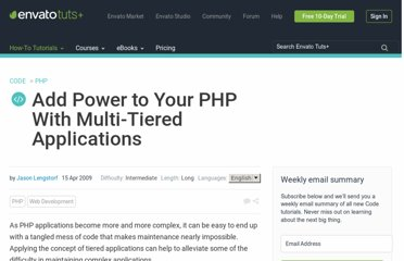 http://net.tutsplus.com/tutorials/php/add-power-to-your-php-with-multi-tiered-applications/
